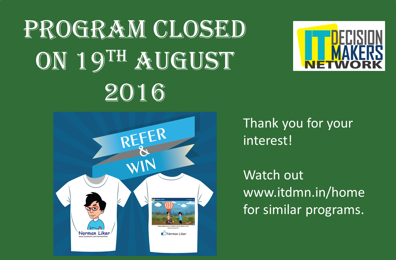 ITDMN referral closure banner